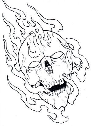 Free-Printable-Fire-Skull-Tattoo-Design