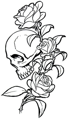 Skull And Rose Tattoos 1